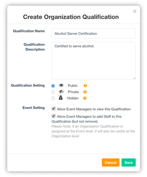 Organization-qualifications