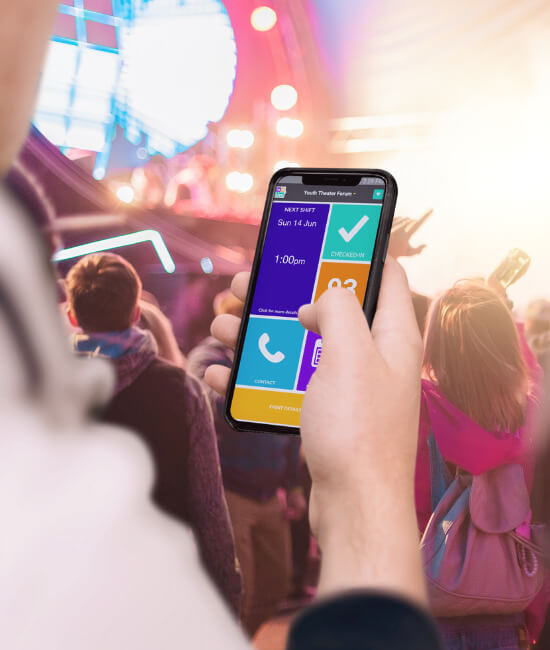 Our event staff management software comes equipped with a staff and volunteer mobile app